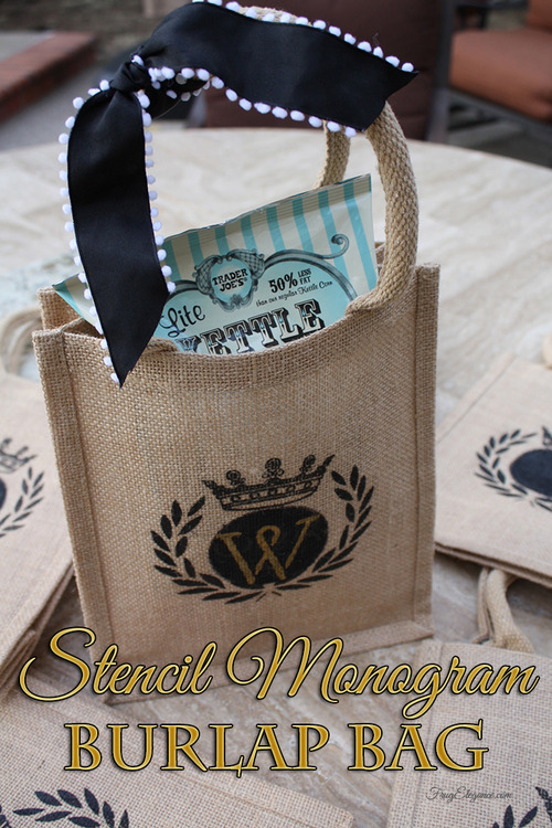 Stenciled Burlap Goodie Bags - FrugElegance