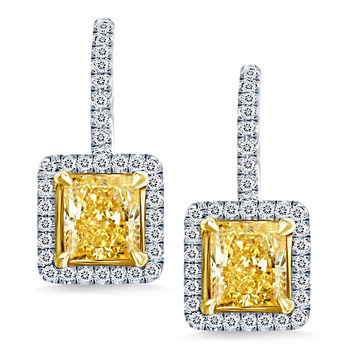 zsazsasitlist:</p> <p>SEE DETAILS HERE:  Radiant Shape Fancy Yellow Diamond Halo Earrings in 18K Two Tone Gold(2 1/5 cttw.)<br />