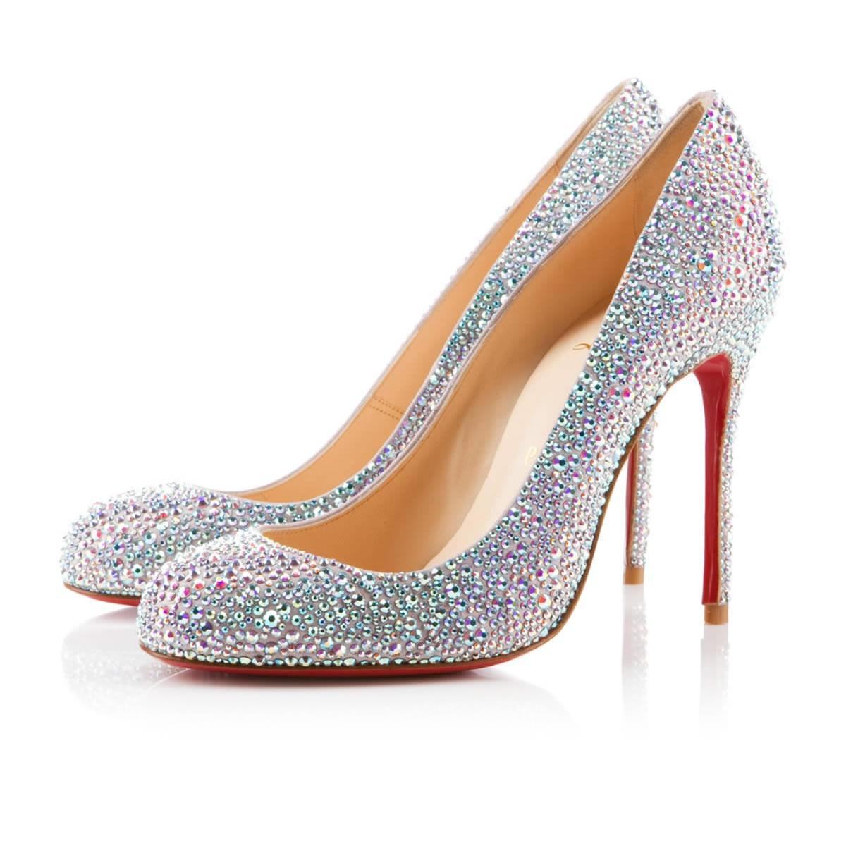 Christian Louboutin heels white glitter pump