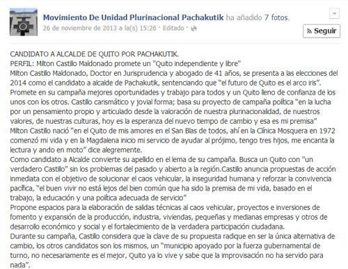 Página de Facebook con información sobre Milton Castillo