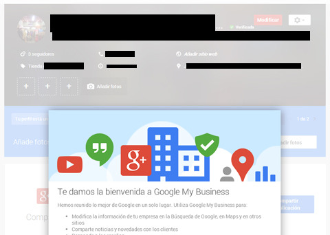 Página local en Google+ con las nuevas funciones de Google My Business