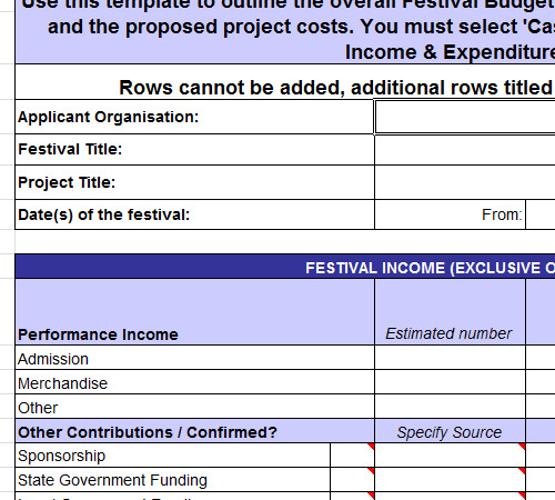 Festival Budget Template Excel