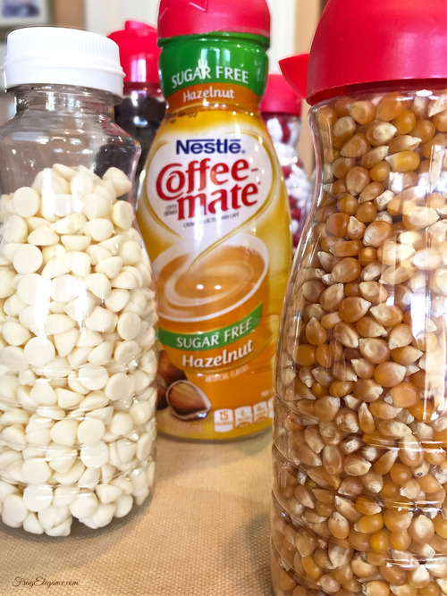 Coffee Creamer Containers Reused into Storage Containers | FrugElegance | www.frugelegance.com