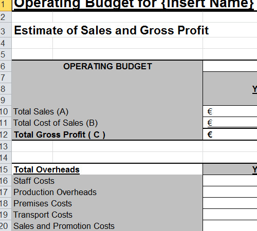 budget templates for small business