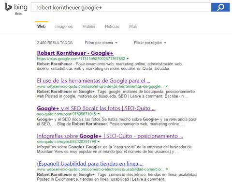 Resultados de búsqueda de Google Plus en Bing
