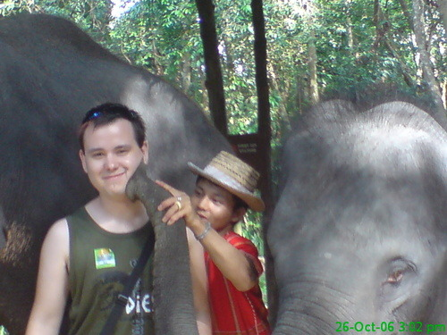 21 year old me, being kissed by an elephant!