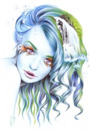 drawing girl water portrait artwork