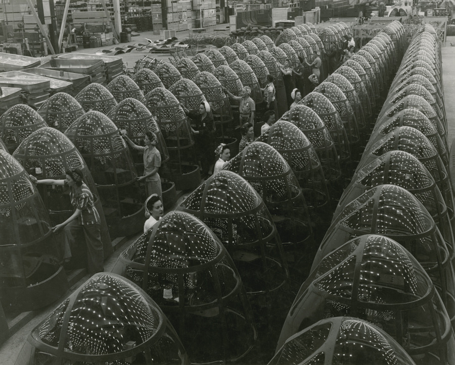 Nose assemblies for Douglas A-20 attack bombers in a factory.Photograph by Douglas Aircraft Co.