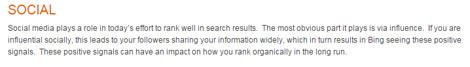 Bing Webmaster Guidelines sobre las redes sociales y su influencia en el ranking de páginas web