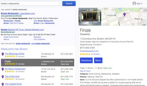 búsqueda local Yahoo: después de un clic en uno de los resultados locales Yahoo muestra una tarjeta de presentación de este negocio