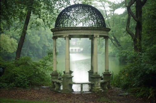 The scene looks peaceful and serene.<br /> I could close my eyes and feel myself<br /> sitting there in the shade of the trees.<br /> I could hear crickets chirping and<br /> fish jumping in the pond.<br /> Close your eyes and join me.