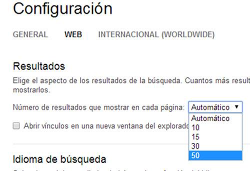 Bing muestra hasta 50 resultados en su página de búsqueda