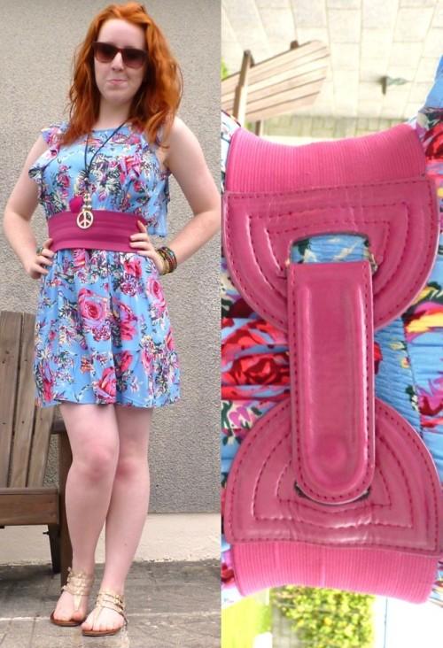 Floral delight. (by Hannah H)#dress, #summer, #redhead, #gladiatorsandals, #waistbelt