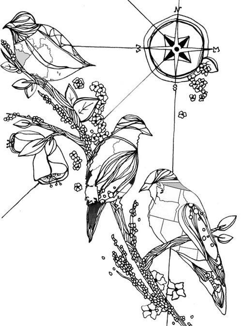 EatSleepDraw • maps and birds tattoo by meeralee.