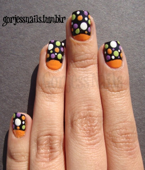 Here is this years nail art to match my clown costume. :) I'd like to think that I've gotten a lot better over this past year. Compared to THIS. What do you think?
