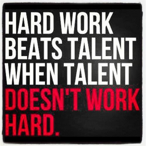 Hardwork beats talent when talent doesnt work hard