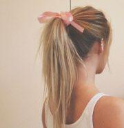 summer blonde long hair pink bow