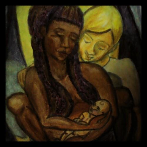 Detail of my celebrating birth painting. By Sara Star, aka Spiritscraft (Taken with Instagram)