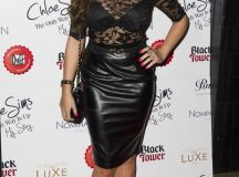 Jay D: Jessica Wright shows her black bra through sheer...