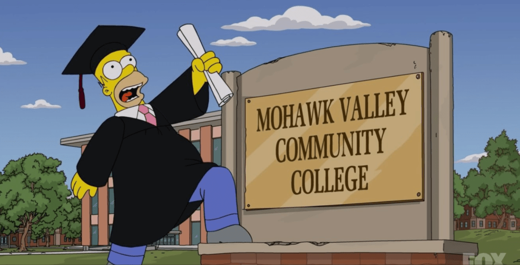 Homer Simpson Graduates from MVCC Mohawk Valley Community College in Utica, NY