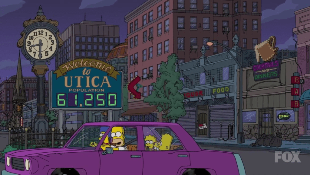The Simpsons visit Utica, NY and point out it's declining population