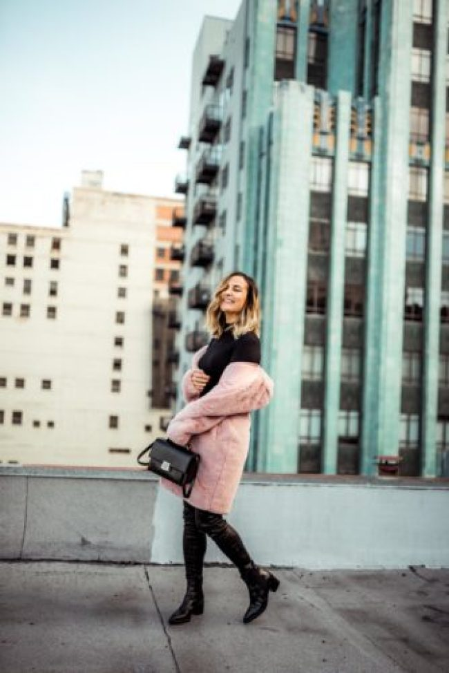 How to Style a Colored Fur Coat   Charmed by Camille