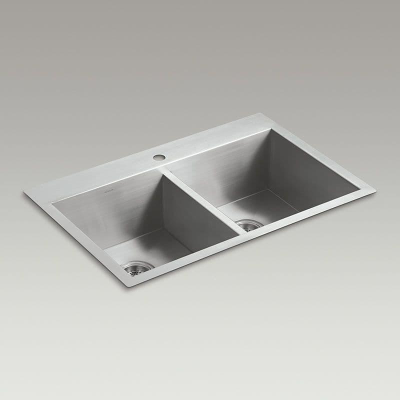 kohler vault 838mm double bowl kitchen sink