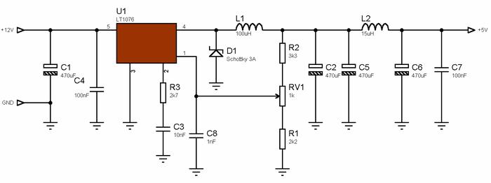 LT1076 Step-Down 12V to 5V 2A Switching DC DC Converter