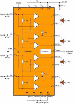 Car 4X40W Amplifier Circuit with TDA8571J  Electronics