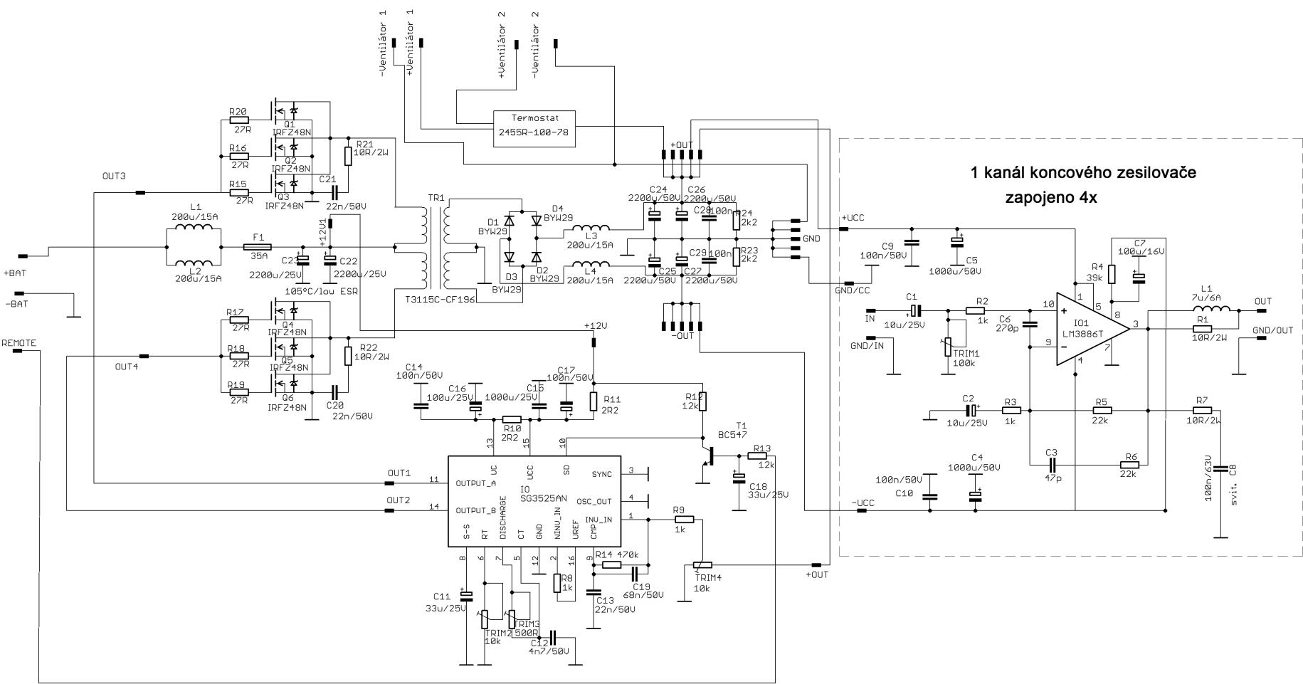 4X60W Car Amplifier Circuit LM3886 SG3525 DC DC Converter