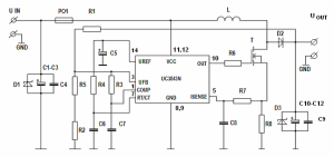 12V to 19V Car DCDC Stepup UC3843D Converter for Notebook  Electronics Projects Circuits