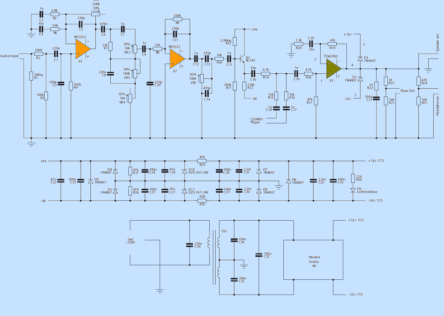 hight resolution of guitar amplifier circuit schematic diagram