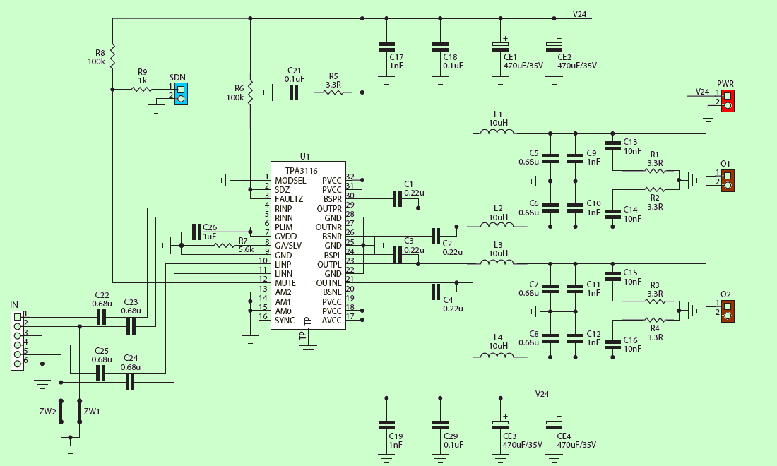 smps schematic diagram audi a2 radio wiring class d amplifier circuit 2x50w tpa3116 - electronics projects circuits