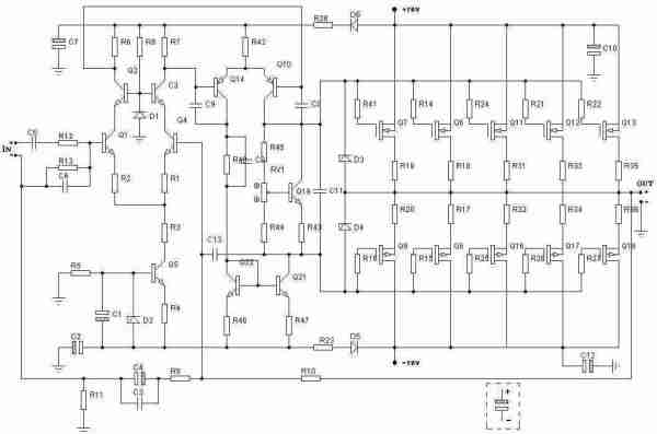 500w Rms Power Amplifier Based Mosfet Circuit Schematic - MVlC