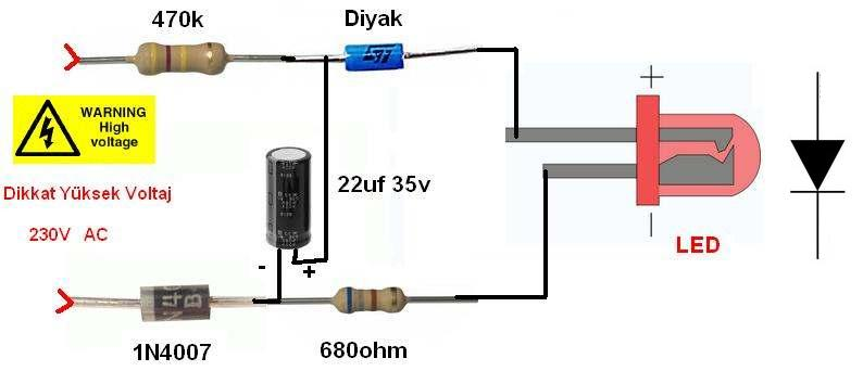 220V Led Flasher Circuit Simple , Transformerless