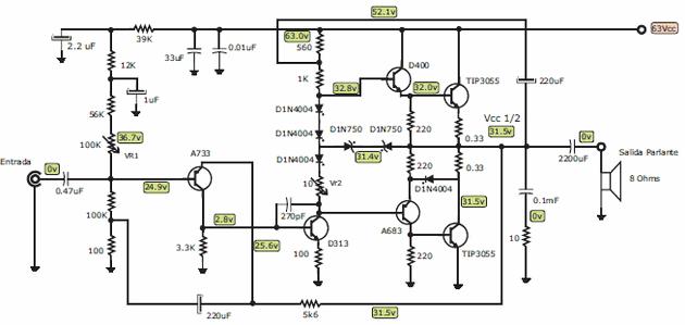 100w subwoofer amplifier circuit diagram nissan x trail t30 audio wiring 100 w manual e books transistor tip3055 electronics projects100w 100watt anfi devre semasi