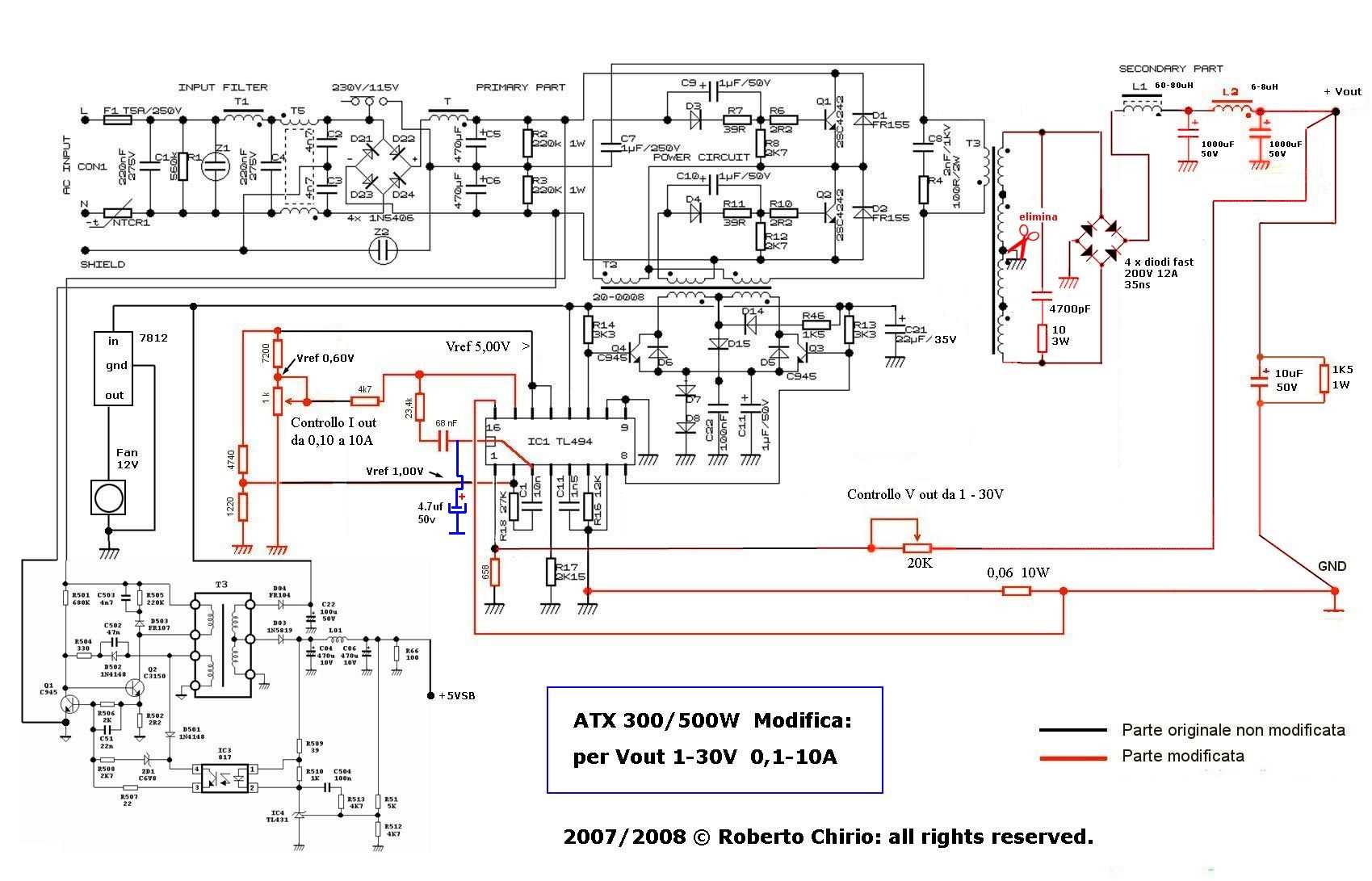 hight resolution of atx power supply with adjustable voltage current modified tl494 modiye atx smps devre semasi 120x120