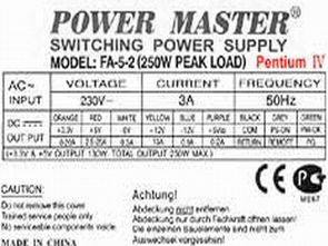 Power Master FA52 Switching Supply TL494 250W
