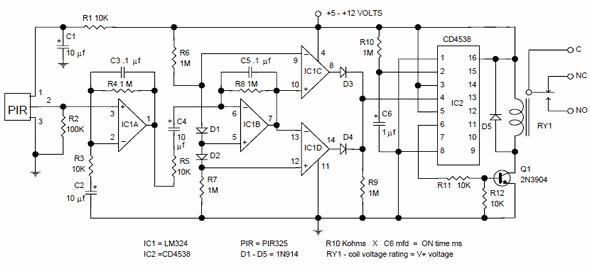 voltage sensing relay wiring diagram dodge dakota hareket dedektörü pir kontrol devresi pir325 re200b – elektronik devreler projeler