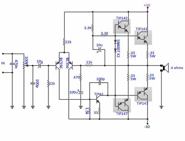 RMS 190W Darlington Oto Amplifikatör TIP142 TIP147 SG3525