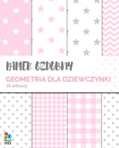 papier ozdobny do druku - grafiki dla dzieci - geometria dla dziewczynki