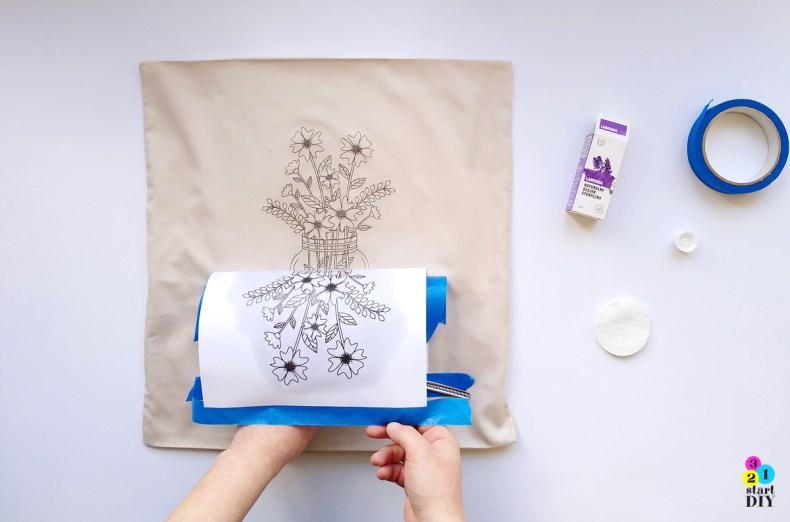 Poduszka z nadrukiem DIY -  transfer wydruku na tkaninę