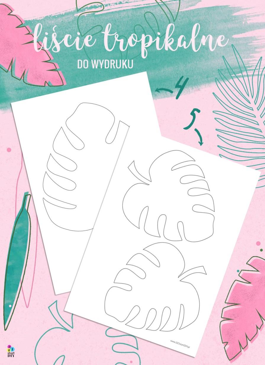 liście monstery - szablony do druku i wycinania