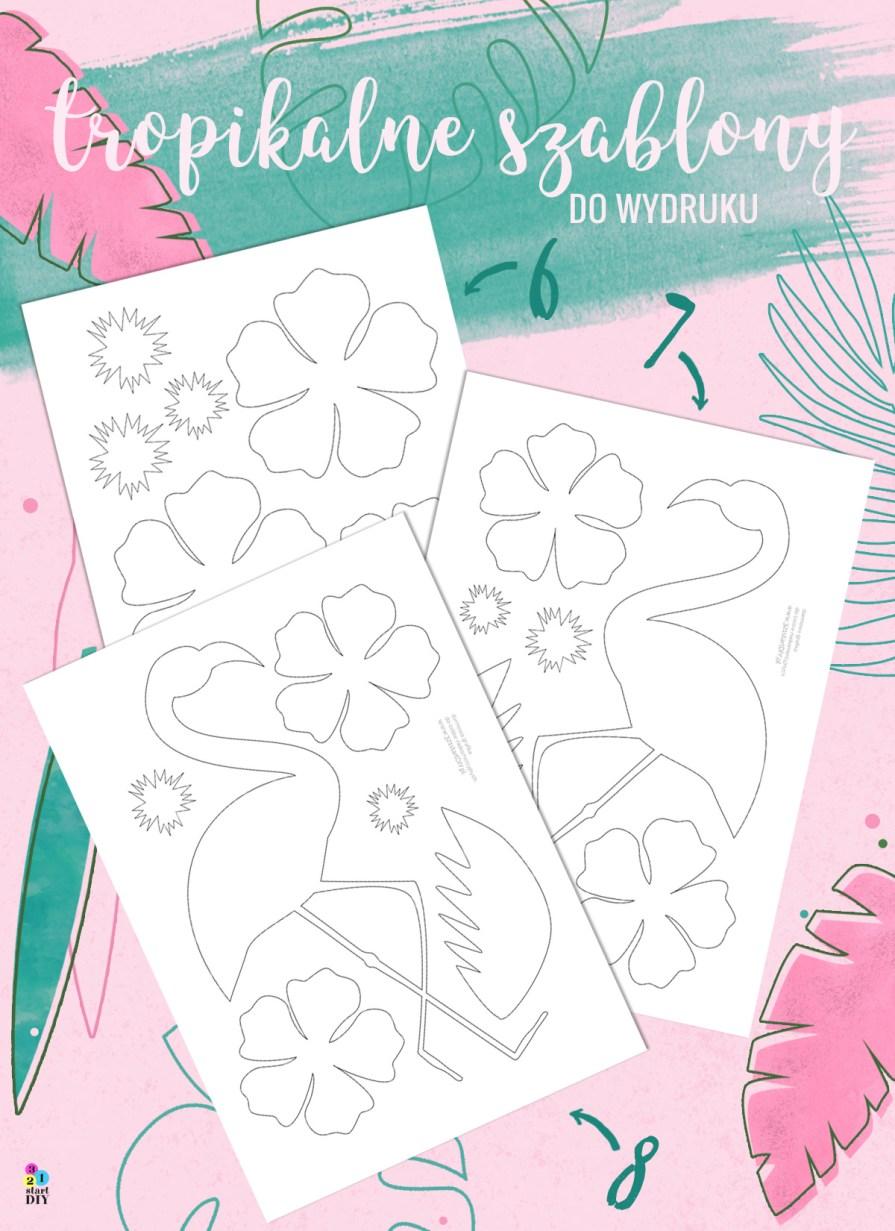 Tropikalne kwiaty i flamingi - szablony do druku i wycinania