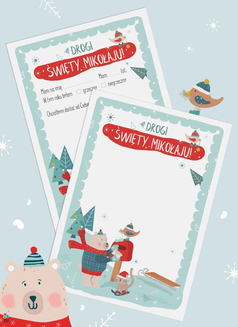 list do św. Mikołaja z misiem