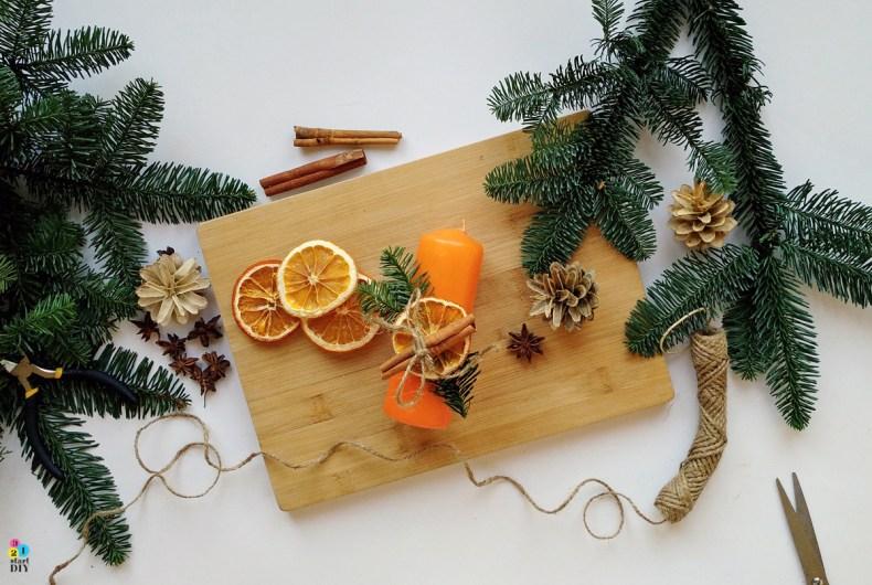 Jak ozdobić świece, świeca z suszoną pomarańczą