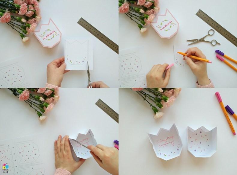 ozdobne pudełka na prezenty - tulipany
