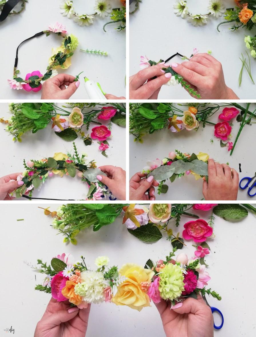 Boho opaska z kwiatami i wianek na gumce - kwieciste diy; opaska na gumce