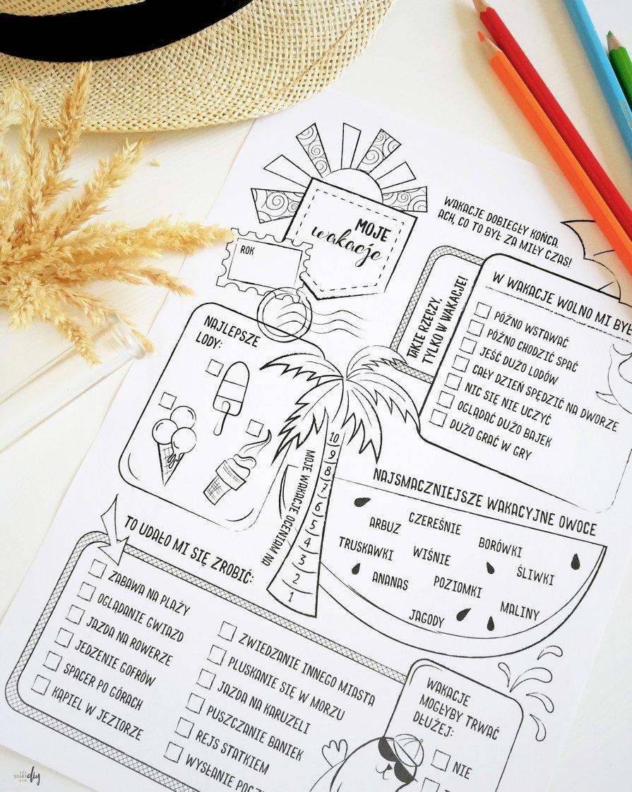 Podsumowanie wakacji - uzupełnianki do druku