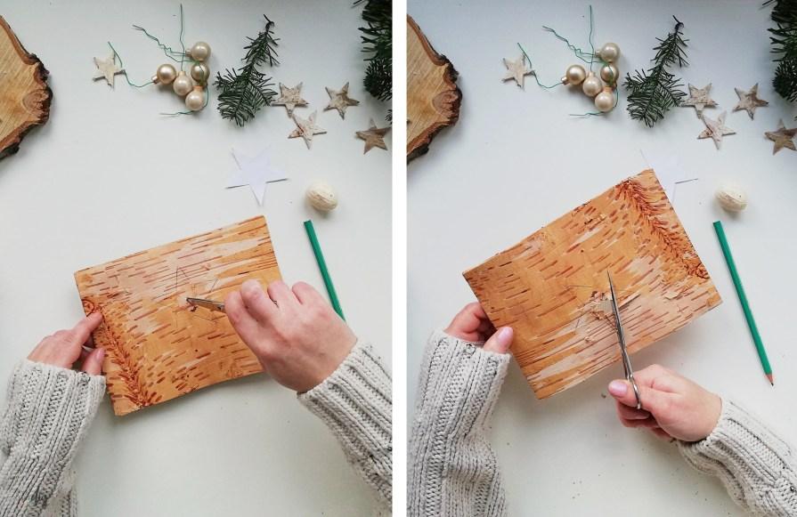 Robimy dekoracje na prezent - świecznik z korą brzozy